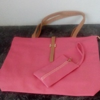 Plain Handle Bags with carrying purse