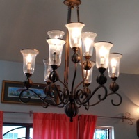 Ceiling chandelier and matching wall lights