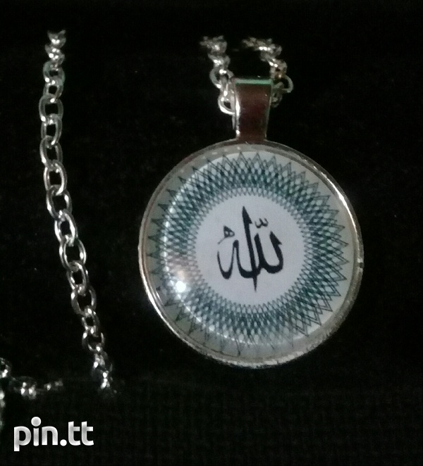 Silver plated necklace with glass dome pendant-1