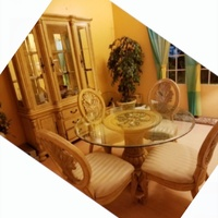 Solid Oak Tuscan Dining Set, Matching Hutch
