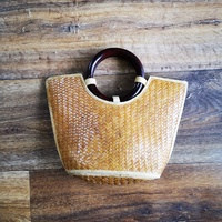 Woven Purse with Wooden Handle