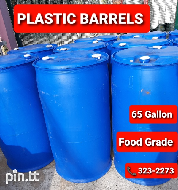 65 Gallon Plastic Barrels