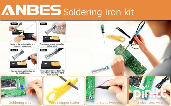 Anbes Soldering Iron Kit Electronics, 60W Adjustable Temperature Weld-8
