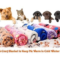 2 Pack Puppy Blanket Pet Cushion Dog Cat Bed Soft Warm Mat Paw Print