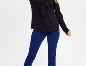 Black Ruffle Front Top
