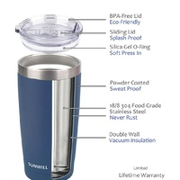 1 20oz Tumbler with Lid..Blue Stainless Steel...new