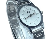 Women's silver tone tactile braille watch