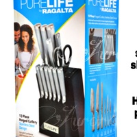 13pc Stainless Steel Cutlery Set with Block Knife Set