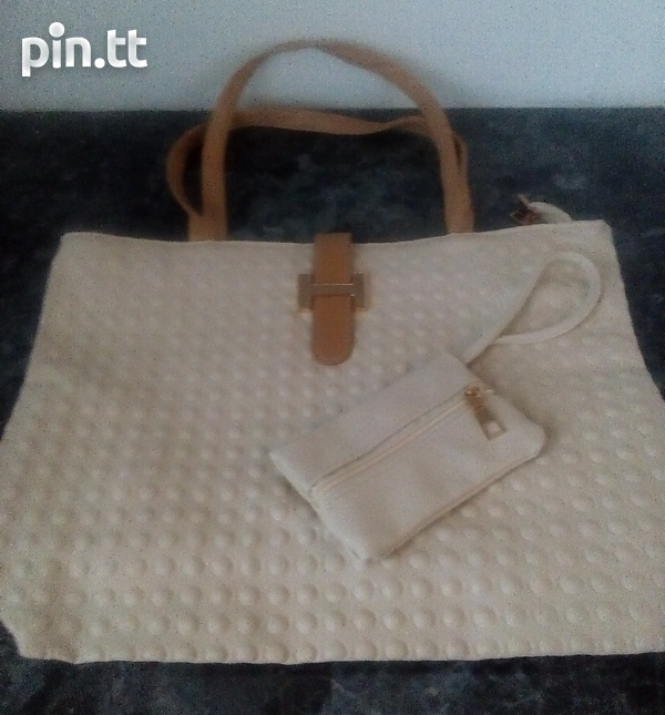 Textured Handle Bags with carrying purse-4