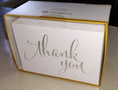 White and silver thank you cards