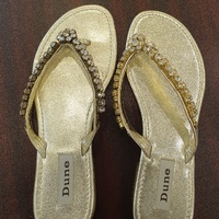DUNE Gold Slippers Size 7.5