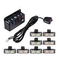2-LED Emergency Warning Grille Flash Strobe Lights Bar with Clips