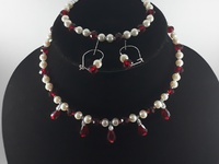 Beaded red and white choker necklace set