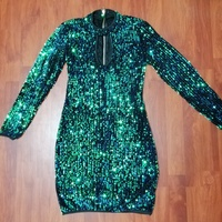 Peacock green sequences dress