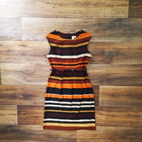 Brown Striped Dress with belt