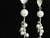 crystal and pearl hanging earring