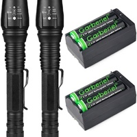 LED flashlight, rechargeable batteries and charger. 2000 lumens