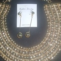 Gold color fashion necklace and earring set