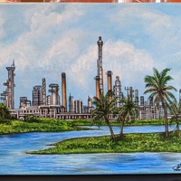 'Petrotrin Refinery, Pointe-a-Pierre'- Original Local Painting- Canvas Print