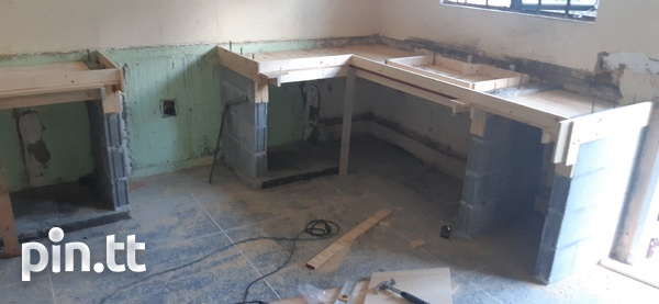 Kitchen counter/cupboards with sink and shelves-5