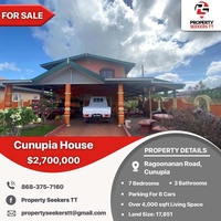 Cunupia 7 Bedroom House on 17,851 sqft w/valuation