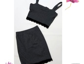 Grey Two Piece Skirt and Top Set