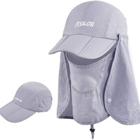 ICOLOR Sun Cap Fishing Hats with Face Mask Outdoor Sun Protection