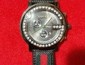 Unisex Gucci Black Face Leather Band