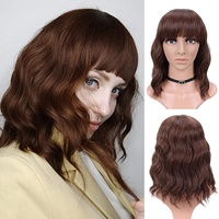 12 Inch Bob Wig with Bangs/ Light Brown Synthetic wig  2 eyelashesfree