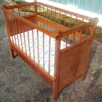 Wooden Crib With Mattress And Padding