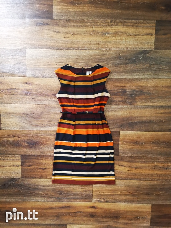 Brown Striped Dress with belt-1