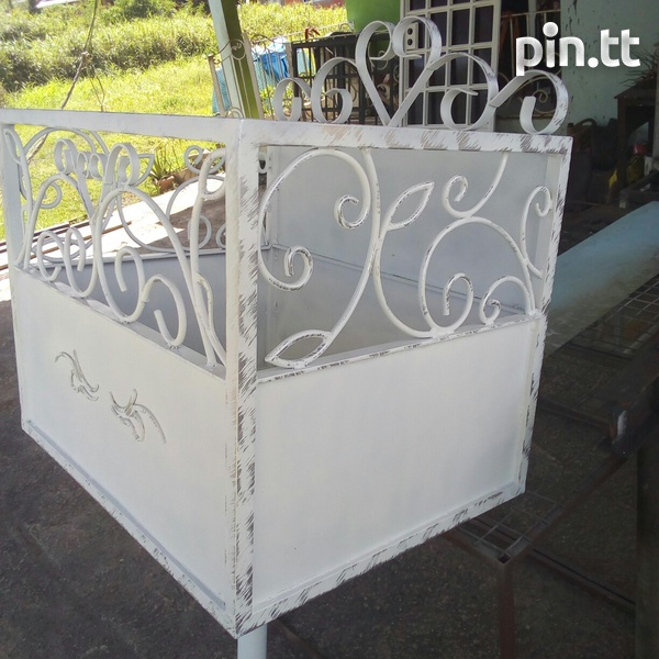 Metal bin with scroll design and sheet pattern zinc frame and sheet-2