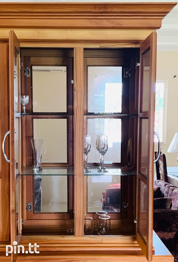 Elegant Teak Exterior Glass Interior Hutch-4